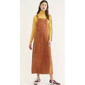 Free People Orange Suede Midi Pinafore Dress